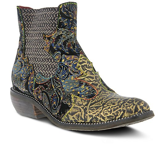 L'Artiste by Spring Step Metallic Leather Booties - Giona