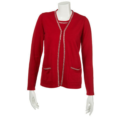Quacker Factory Long Sleeve Sweater Duet with Square Rhinestone Trim