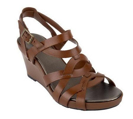c65e23a4825 Clarks Bendables Star Mello Leather Wedge Sandals - Page 1 — QVC.com