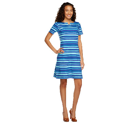 Liz Claiborne New York Short Sleeve Striped Knit Dress