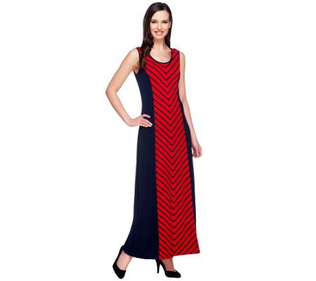 Susan Graver Liquid Knit Printed Maxi Dress W Solid Side Panels