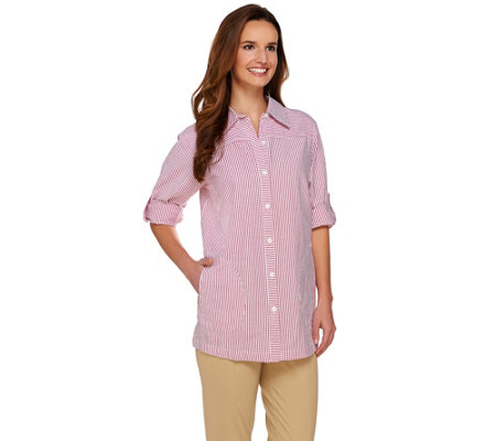 Joan Rivers Seersucker Boyfriend Shirt w/ Long Sleeves