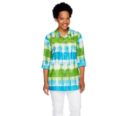 Susan Graver Printed Cotton Lawn Button Front Big Shirt