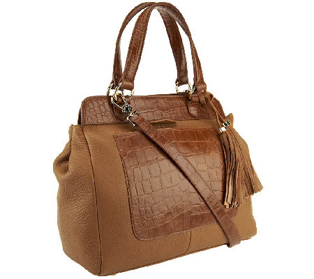 """As Is"" Isaac Mizrahi Live! Bridgehampton Croco Embossed Leather Satchel"