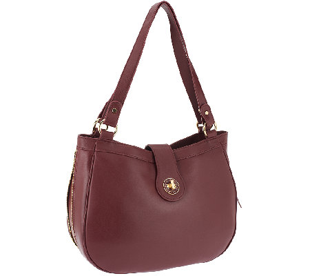 Isaac Mizrahi Live! Bridgehampton Lamb Leather Hobo