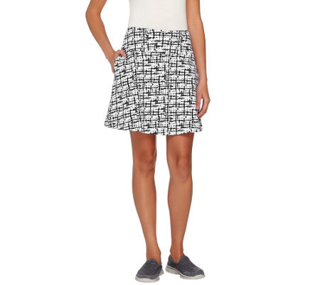 Women with Control Petite Tummy Control Printed Skort
