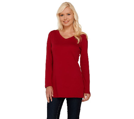 Isaac Mizrahi Live! Essentials Rounded V-Neck Knit Tunic