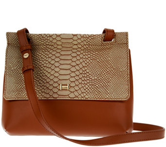 d397e9bf5b7f H by Halston Snake Embossed   Smooth Leather Crossbody Bag - A274061
