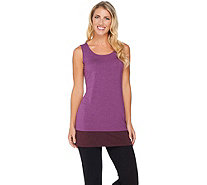 LOGO Layers by Lori Goldstein Knit Tank with Contrast Bottom Hem - A282161
