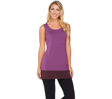 LOGO Layers by Lori Goldstein Knit Tank with Contrast Bottom Hem