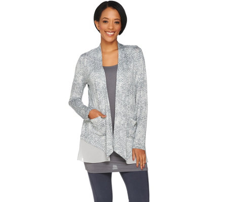 LOGO by Lori Goldstein Printed Cardigan with Chiffon Hem