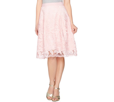 Isaac Mizrahi Live! Floral Lace Knife Pleat Full Skirt