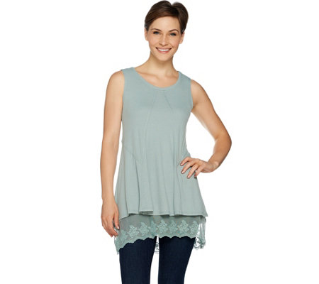 LOGO by Lori Goldstein Pique Knit Tank & Solid Tank w/ Lace Twin Set