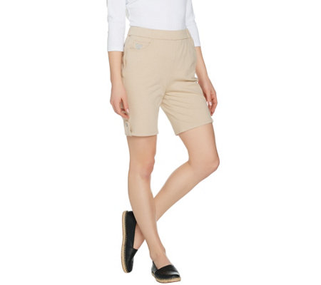 Quacker Factory DreamJeannes Pull-On Shorts with Button Detail