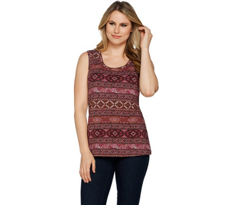 Denim & Co. Perfect Jersey Southwest Print Scoop Neckline Tank Top