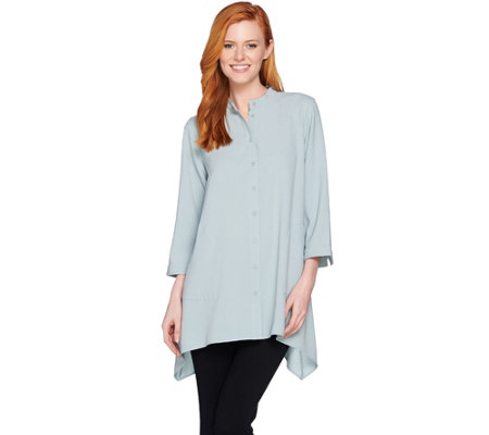 """As Is"" Linea by Louis Dell'Olio Gauze Crepe Stand Collar Tunic"