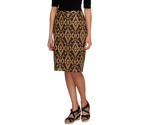 """As Is"" Linea by Louis Dell' Olio Ikat Printed Pull-On Skirt"