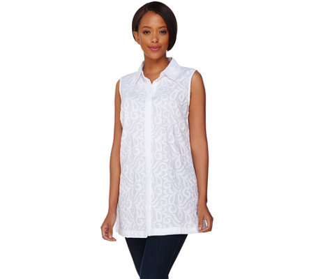 """As Is"" Dennis Basso Embroidered Cotton Button Front Blouse"