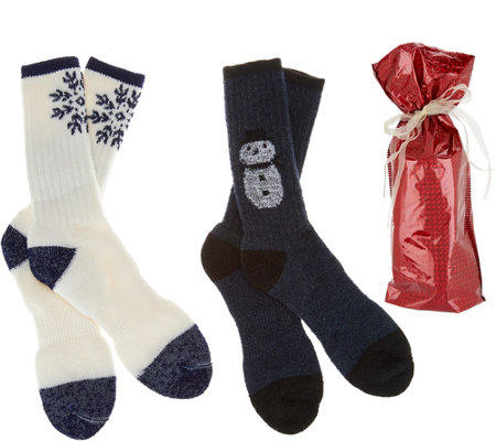 Catawba Set of 2 Merino Wool Blend Holiday Socks with Gift Bag