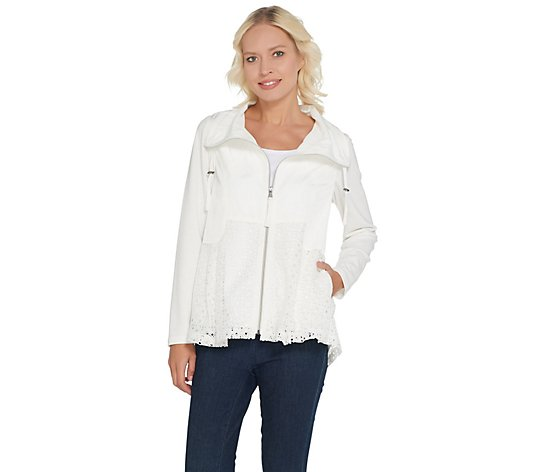 LOGO by Lori Goldstein Zip-Front Jacket with Eyelet Details
