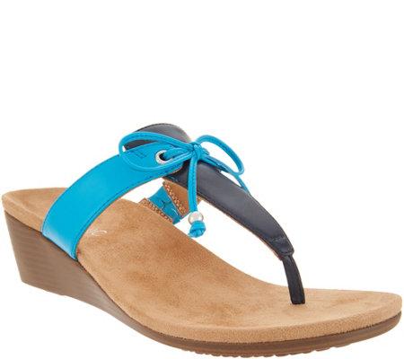 46e8be7379 Vionic Bow T-Strap Wedge Sandals - Della - Page 1 — QVC.com
