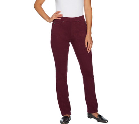 """As Is"" Belle by Kim Gravel Flexibelle Regular Pull-On Jeans with Lace"