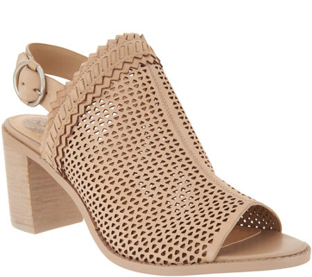 Vince Camuto Perforated Leather Heeled Sandals - Tricinda