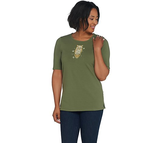 Quacker Factory Elbow-Sleeve Knit T-Shirt w/ Embellished Motifs