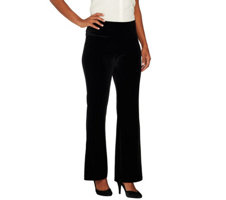 """As Is"" Women with Control Petite Tummy Control Velvet Boot Cut Pants"