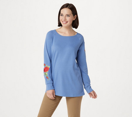 Quacker Factory Floral Embroidered Raglan Sleeve Knit Top