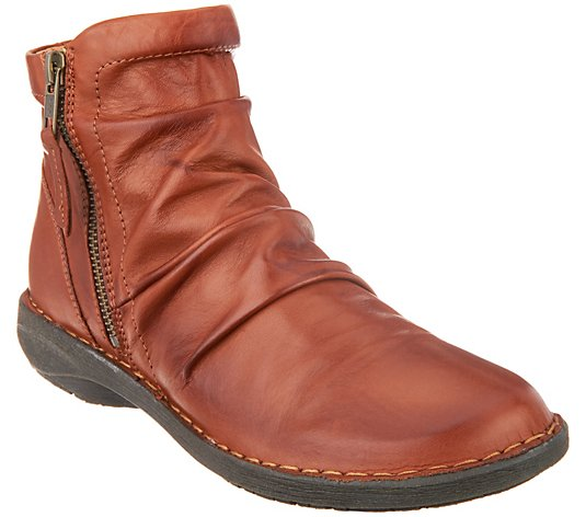 Miz Mooz Leather Ruched Ankle Boots - Pleasant