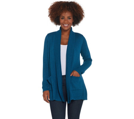 H by Halston Open Front Cardigan with Stitch Detail