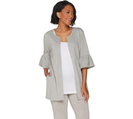 """As Is"" AnyBody Loungewear Cozy Knit French Terry Cardigan"