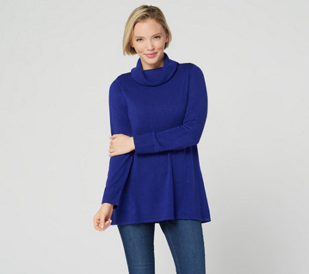 Susan Graver Plush Knit Sweater Tunic with Foldover Neck