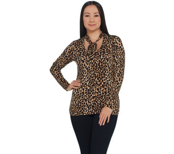 7f7a88b425 Lisa Rinna Collection Print and Solid Neck Tie Long Sleeve Top - A345861