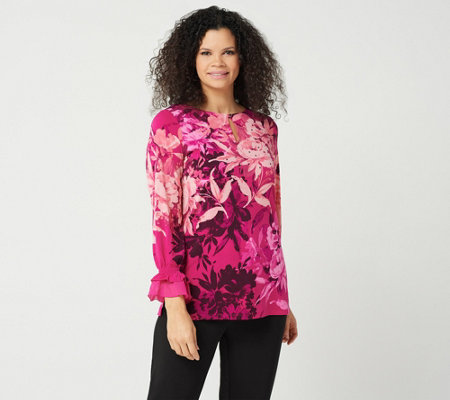 Susan Graver Printed Liquid Knit Embellished Tunic