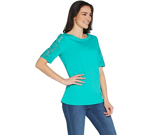 """As Is"" Susan Graver Weekend Cotton Modal Top with Lace Insets"