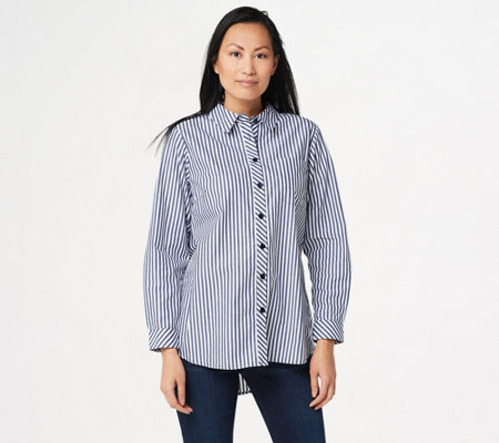 Joan Rivers Button Front Shirt with Tulip Back Detail
