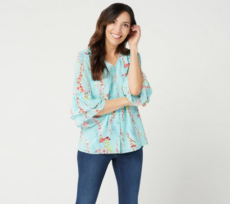 Belle By Kim Gravel Floral Print Blouse With Flutter Sleeves