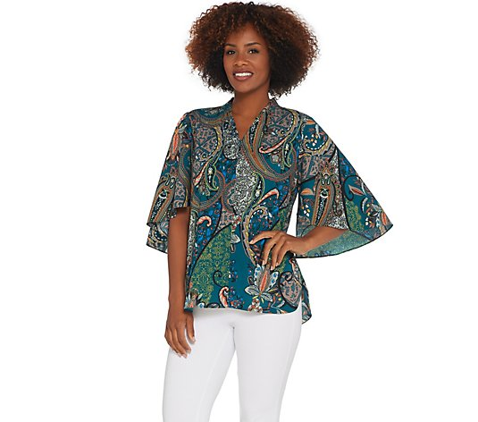 """As Is"" Belle by Kim Gravel Paisley Print Flutter Sleeve ZipFront Blouse"