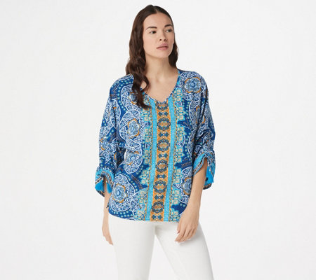 Belle by Kim Gravel Medallion Ruched-Sleeve Blouse