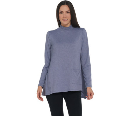 """As Is"" LOGO Lounge by Lori Goldstein French Terry Mock-Neck Top"