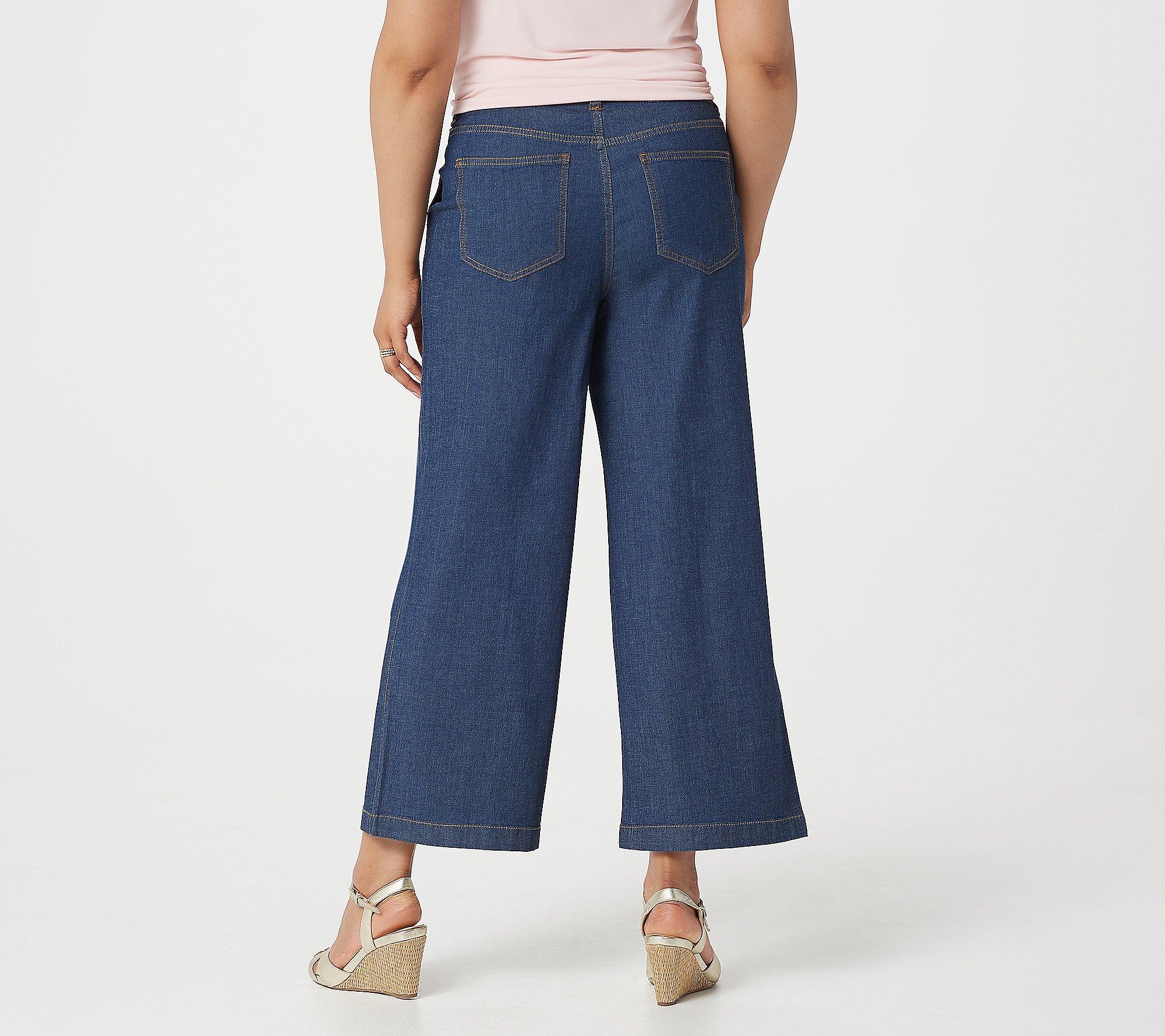 Women/'s Beach Petite Pull-On Wide Leg Knit Pants Black PS Size QVC Denim /& Co