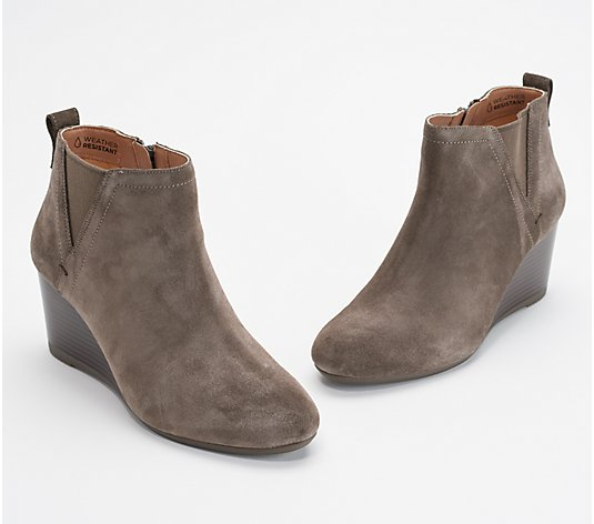Vionic Suede Wedge Boots - Paloma