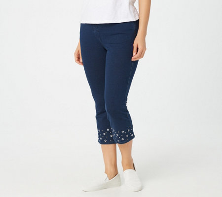 Quacker Factory DreamJeannes Cropped Pants with Grommets