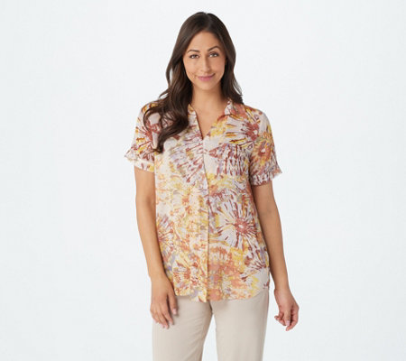 LOGO by Lori Goldstein Printed Sheer Woven Top with Front Pleat