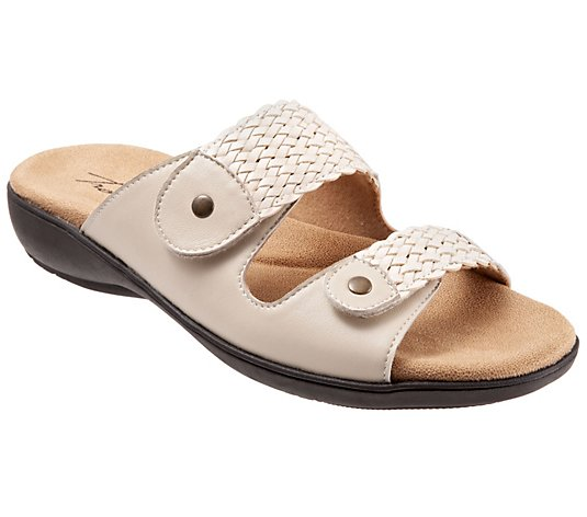 Trotters Adjustable Leather Slip-On Sandals - Terri