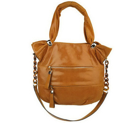 As Is B Makowsky Lizard Embossed Leather Tote