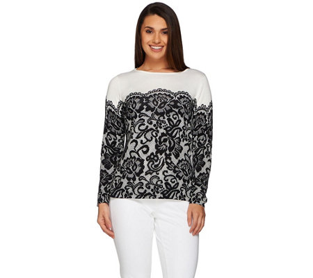 Bob Mackie's Long Sleeve Printed Lace Pullover Sweater
