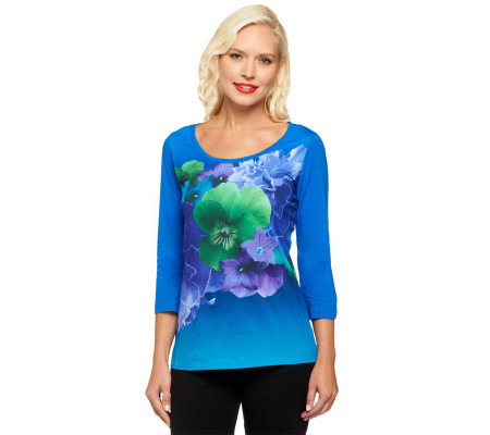 Isaac Mizrahi Live! Photo Real Floral Printed Knit Top